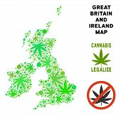 Royalty Free Cannabis Great Britain And Ireland Map Collage Of Weed Leaves. Template For Narcotic Ad poster