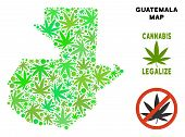Royalty Free Cannabis Guatemala Map Collage Of Weed Leaves. Template For Narcotic Addiction Campaign poster