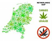 Royalty Free Cannabis Netherlands Map Collage Of Weed Leaves. Concept For Narcotic Addiction Campaig poster