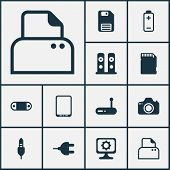 Hardware Icons Set With Modem, Tablet Phone, Sd Card And Other Cellphone Elements. Isolated  Illustr poster