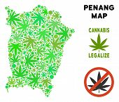 Royalty Free Cannabis Penang Island Map Composition Of Weed Leaves. Template For Narcotic Addiction  poster