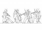 Continuous One Single Line Drawn Musical Quartet Violin Musicians. Classic Music, Musician, Art, Ins poster