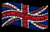 Waving Uk State Flag On A Black Background. Vector Case Items Are Combined Into Conceptual English F poster