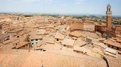 Panorama Aerial View Of Siena Historic  Old Town, Italy, With Piazza Del Campo And Mangia Tower On P poster