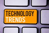 Conceptual Hand Writing Showing Technology Trends. Business Photo Text Trending Modern Viral Advance poster