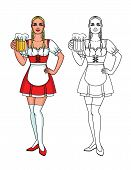 Vector Set Of Colorful And Line Illustration Of A Pretty Cute Waitress With A Mug Of Bear. Cute Char poster