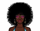 Vector Colorful Illustration Of African American Hippie Woman In Pink Glasses Isolated From White Ba poster