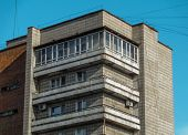 Multistory Apartment Building. Soviet Architecture. Soviet Style. Apartment Block. Residential Build poster