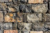 Background Texture Of Masonry Decorative Stones With Shades Of Green, Blue, Emerald poster