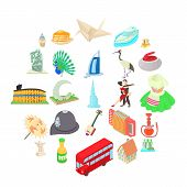 Culture Icons Set. Cartoon Set Of 25 Culture Vector Icons For Web Isolated On White Background poster