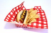 Hot Dog. Hot Dog in Bun with Yellow Mustard and Potato Chips on a Red and White Checker Paper Napkin poster