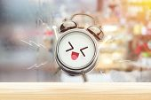 The Alarm Clock Is Happy In The Morning At The Bedroom. Good Morning And Happy Day. Have A Good Day  poster
