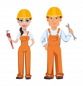 Builder Man And Woman In Uniform, Cartoon Characters. Professional Construction Workers. Smiling Rep poster