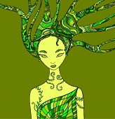 Fantasy Woman Forest Shaman. Isolated Pattern Green Color. Wood Nature Spirit . Decorative Fantasy G poster
