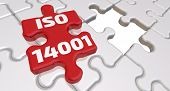 Iso 14001. The Inscription On The Missing Element Of The Puzzle. Folded White Puzzles Elements And O poster