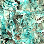 Watercolor Exotic Seamless Pattern. Tribal Colorful Paint Brush Print. Oriental Splash Watercolour D poster