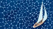 Sailing Ship Banner. Top View Sail Boat On Deep Blue Sea Water. Luxury Yacht Race, Ocean Sailing Reg poster