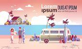 Summer Vacation Man Woman Surf Bus Sunset Tropical Beach Retro Surfing Vintage Villa Island Horizont poster