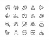 Simple Set Of Team Work Related Vector Line Icons. Contains Such Icons As Collaboration, Research, M poster