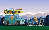 Recreation In Nature. Car With Boat And Bike In The Nature. The Concept Of Camping And Outdoor Recre poster