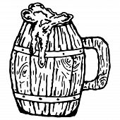 Wooden Mug With Beer. Vector Of A Vintage Mug Made Of Wood For Beer. Hand Drawn Mug With A Frothy Be poster