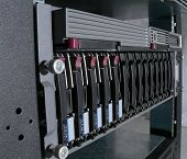 stock photo of cisco  - rack mounted network server computer with raid hard drive array - JPG