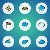 Climate Icons Colored Line Set With Midnight, Sunlight, Cloudy Day And Other Flag Elements. Isolated poster