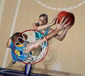 Basketball Player Is Blocking Shot On Basketball Arena poster