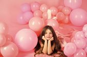 Birthday With Balloons. Birthday, Happiness, Childhood, Look. Birthday Children Party With Little Gi poster