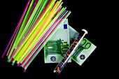 Colorful Straws, Crushed Recycled Plastic In A Test Tube And 100 Euro Banknotes.end Of Disposable Pl poster