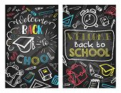 Back To School Education Season Poster Design On Chalk Blackboard Background. Vector School Bag, Boo poster