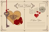 Retro Postcard On The Theme Of Declaration Of Love With Key, Keyhole In The Heart And Red Roses. Rom poster