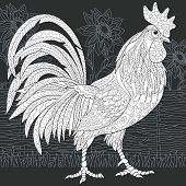 Rooster Drawn In Line Art Style. Sun Flowers. Rural Background In Black And White Colors On Chalkboa poster
