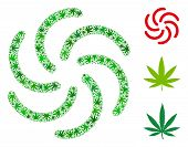 Galaxy Mosaic Of Cannabis Leaves In Various Sizes And Green Variations. Vector Flat Hemp Leaves Are  poster