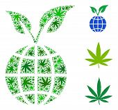Global Sprout Composition Of Weed Leaves In Different Sizes And Green Tinges. Vector Flat Weed Icons poster