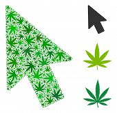 Mouse Pointer Collage Of Marijuana Leaves In Various Sizes And Green Hues. Vector Flat Marijuana Ele poster