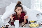 Lonely Evening. Stressed Nervous Woman Feeling Heartbroken While Having Lonely Evening With Wine And poster