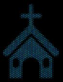 Halftone Christian Church Mosaic Icon Of Circle Elements In Blue Color Tinges On A Black Background. poster