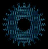 Halftone Cogwheel Mosaic Icon Of Spheric Bubbles In Blue Color Tints On A Black Background. Vector S poster