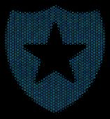 Halftone Guard Mosaic Icon Of Spheric Bubbles In Blue Color Tones On A Black Background. Vector Sphe poster