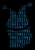 Halftone Joker Mosaic Icon Of Empty Circles In Blue Color Tints On A Black Background. Vector Empty  poster