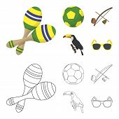 Brazil, Country, Ball, Football . Brazil Country Set Collection Icons In Cartoon, Outline Style Vect poster