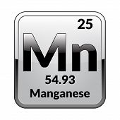 Manganese Symbol.chemical Element Of The Periodic Table On A Glossy White Background In A Silver Fra poster