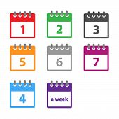 A Week Calendar Icon Vector In Modern Flat Style For Web, Graphic And Mobile Design. Calendar Icon V poster