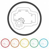 Electric Motor Icon, 6 Colors Included, Simple Icons Set poster