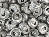 Pile of empty crashed aluminum soda cans poster