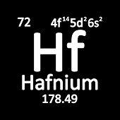 Periodic Table Element Hafnium Icon On White Background. Vector Illustration. poster