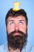 Live Target Concept. Man Handsome Hipster Long Beard Almost Eaten Apple Stump On Head As Target. Wei poster