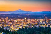 Portland, Oregon, USA skyline at dusk with Mt. Hood in the distance. poster