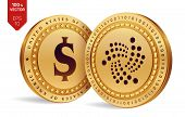 Iota. Dollar Coin. 3d Isometric Physical Coins. Digital Currency. Cryptocurrency. Golden Coins With  poster